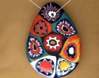 vintage italian millefiore or millifiore colorful italian pendant teardrop shape OOAK antique pendant