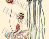 Ballerina Tutu Girl with Balloon Art Deco 1920s Rare Design by Cecily Shand Vintage Postcard Instant Download