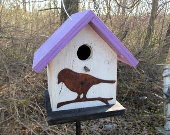 Birdhouse Functional Primitive White Purple Rusty Bird Cutout