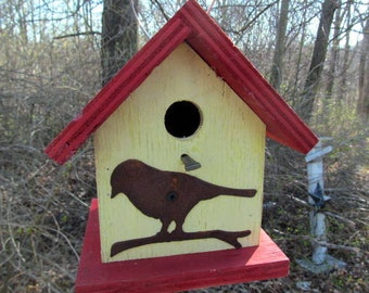 Birdhouse Functional Primitive Yellow Red Rusty Bird Cutout