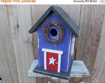 Purple Birdhouse Red Door Grapevine Wreath Metal Star Black Roof and Base Bottom Removes for Clean out