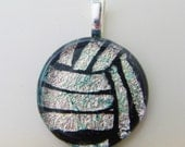 Volleyball Necklace Pendant - Water Polo Necklace Pendant - Dichroic Fused Glass - silver pink - Free Shipping