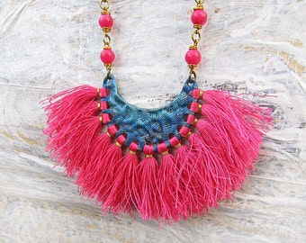 Bohemian tassel necklace set gift for her colorful hippie boho chic jewelry