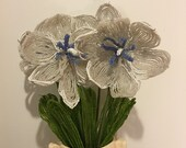 Vintage Beaded large white and blue flower