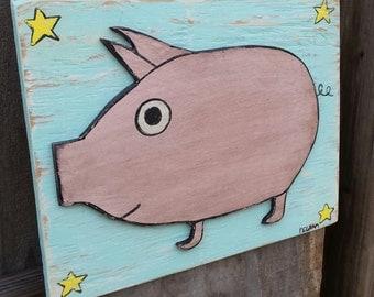Layered Pig Folk Art on Wood