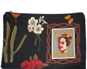 Viva Frida Mexican Art Makeup Bag Zipper Pouch Wallet  Gadget Bag Clutch Large Size 6x9 Inches