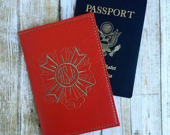Monogram Passport Cover for Women - Red Faux Leather Passport Holder - Medallion Motif Passport Holder with Signet - Travel Gift for Her