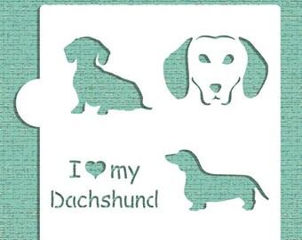 I Love My Dachshund Cookie, Cupcake & Craft Stencil - Designer Stencils (CM024)