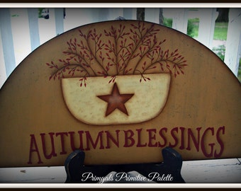 Autumn Blessings Fall Wood Door Crown Topper Home Decor Plaque  Hand Painted Decoration