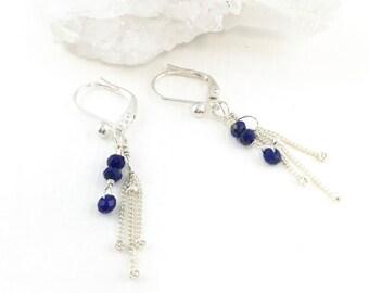 Lapis Earrings Silver, Dainty Silver Earrings, Dainty Drop Earrings, Silver Gem Earrings, Precious Gem Earrings, Lapis Gemstone