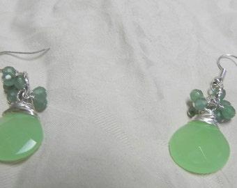 Green Chalcedony Green Adventurine Sterling Silver Wire Wrapped Gemstone Dangle Drop Earrings