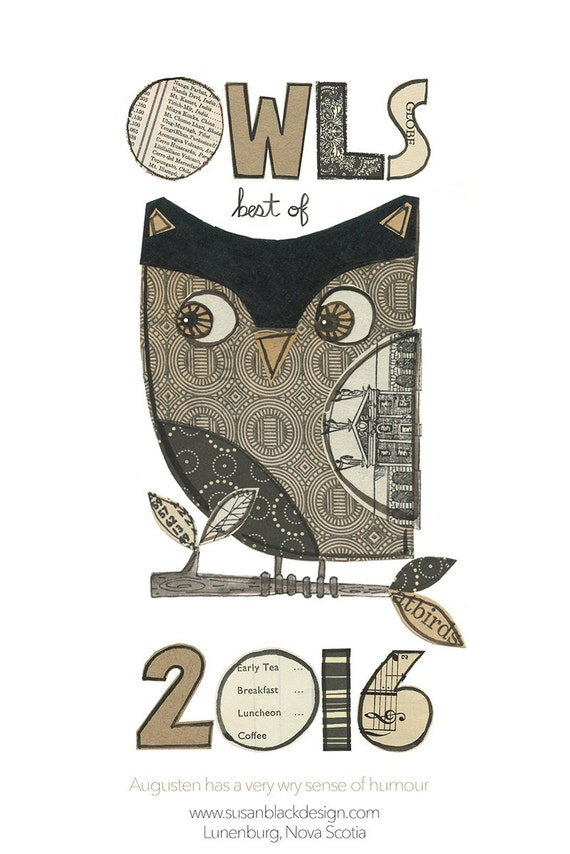 2016 LIL' OWLS CALENDAR - 6 x 9, best of, wall calendar, Susan Black, collage owls