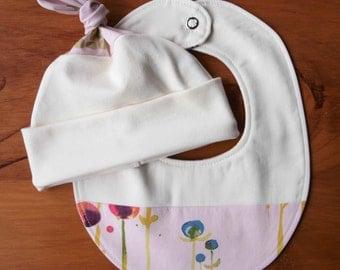 Pink Hat and Teething Bib Gift Set for Baby Girl; Organic Cotton Newborn Baby Cap, Drool Bib Gift Set; Pretty Gift, Baby Girl Shower; Poem