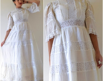 Vintage 50s 60s White Cotton Voile and Lace Paneled Pintucked Bell Sleeved Mexican Wedding Dress (size small)