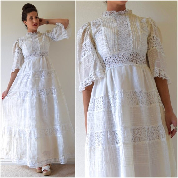 SPRING SALE/ 20% off Vintage 50s 60s White Cotton Voile and Lace Paneled Pintucked Bell Sleeved Mexican Wedding Dress (size small)