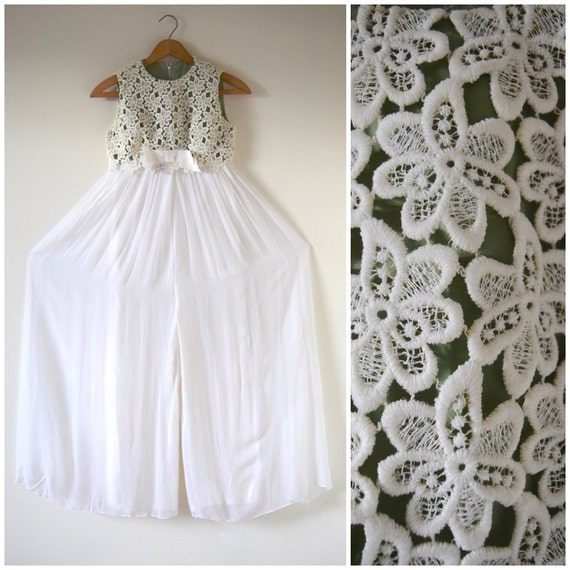 SPRING SALE/ 20% off Vintage 60s 70s White Chiffon Crocheted Bodice Empire Waist Palazzo Pant Jumpsuit (size xxs, xs)