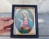 Vintage Antique 1900s French religious glass frame  chromolithograph Holy Virgin  sacred heart christianity catholica