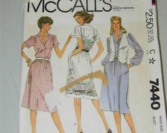 Vintage McCalls Dress Vest pattern 7440 Size 6 11807 1980's McCall's