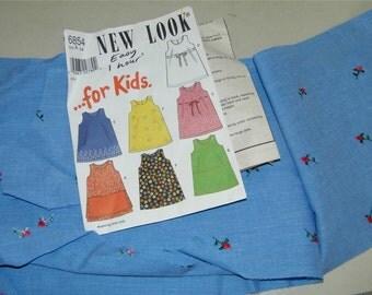 New Look 6854 Girls Sun Dress Sundress Pattern Size 6 w/ Fabric 12342