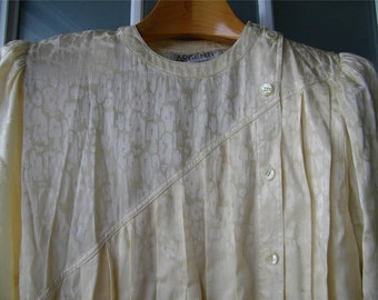 Vintage Ivory Cream Silk Argenti Pleated Drop Waist Dress Size 12 11479