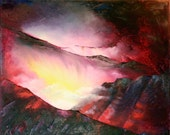 "Art Painting -  Volcano - PALETTE KNIFE -  Art Oil Painting On Canvas By Irena Rudman - Size:16"" x 20"" (40.5 cm x 51 cm)"