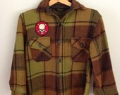 Vintage Plaid Shirt Jacket Coat Boys Skull Patch Size 12