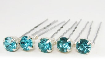 Aqua Rhinestone Hair Pins - Aqua Crystal Hair Pins, Aqua Wedding Hair Pins, Aqua Bobby Pins - 7mm/5 qty - FLAT RATE SHIPPING
