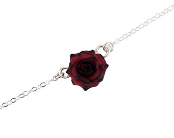 Tipped Rose Sterling Silver Anklet or Bracelet - More Colors, Tipped Rose Jewelry