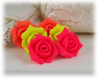 Neon Rosebud Stud Earrings - Fluorescent Jewelry