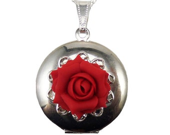 Rose Locket Necklace -  Rose Jewelry