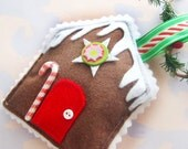 Felt Gingerbread House Sewn Christmas Ornament