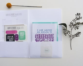 Write Here Right Now Writing Kit - Birthday Kit - Letterpress Writing Kit - WRK-412
