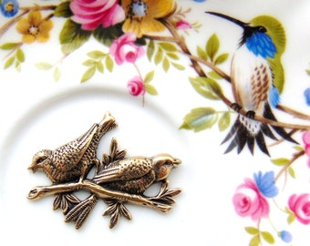 ANTIQUE BRASS (2 Pieces) Birds On A Branch Stamping - Jewelry Ornament Findings (FA-6032) #