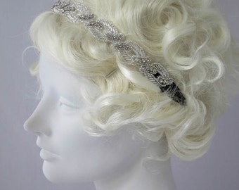 Starlet Flapper Headband Silver and Rhinestone, Stretch Headband, Edwardian, Gatsby Style, Deco