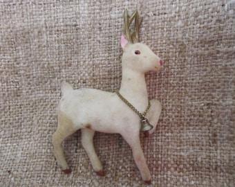 Vintage 1950's Flocked Reindeer