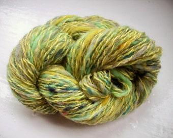 Handspun art yarn, wool, curls, kid mohair, Angelina sparkle, green by SpinningStreak