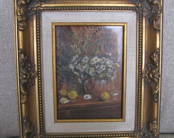 Vintage Connie King Painting, Floral Painting, Gilt Frame, Daisy Painting, Still Life Painting, Home Decor, Wall Decor, Listed, Signed