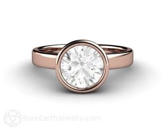 Bezel Solitaire Moissanite Engagement Ring Forever One Moissanite Ring 14K or 18K Gold Rose Gold Conflict Free Custom Engagement
