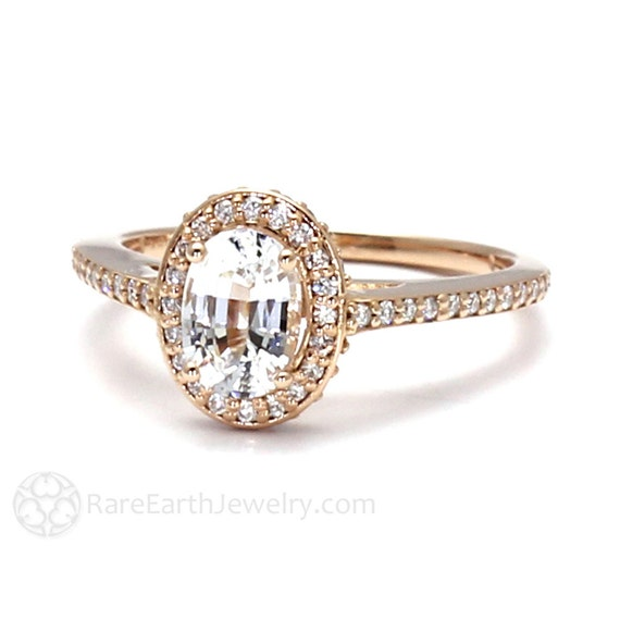 white sapphire engagement ring oval halo setting 14k 18k gold
