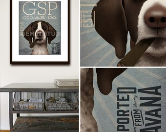 German Shorthaired Pointer GSP cigar company dog illustration artwork UNFRAMED giclee signed print by Stephen Fowler