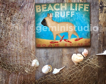 Frenchie french bulldog beach life dog illustration graphic art on canvas panel by stephen fowler Pick A Size