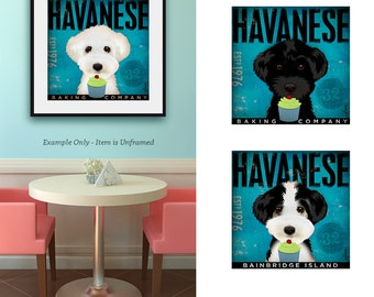 Havanese dog Cupcake Company illustration signed artist's print by Stephen Fowler