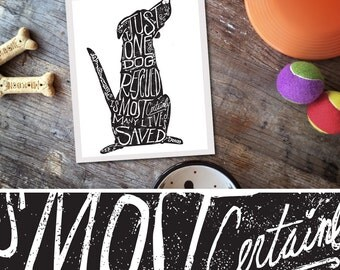 Hand lettered dog rescue dog illustration artwork UNFRAMED giclee signed print by Stephen Fowler