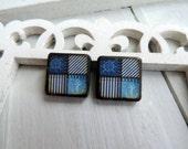 "Nautical Denim Blue Jean Seersucker Stripe Wave Ship Anchor Wheel 5/8"" Square Diamond JLynnJewels Art Tile Jewelry DIY Earring pair"
