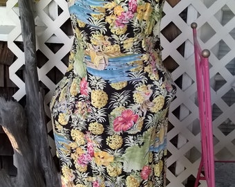 Kahala Hawaiian Sheath Dress, Rayon Print Hawaiian Dress, Summer Hawaiian Sun Dress, sz L 12/14