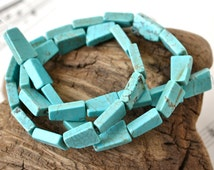 12x9mm Magnesite Beads in Turquoise Color Dyed Stone Trapezoid Shaped Bead Strand