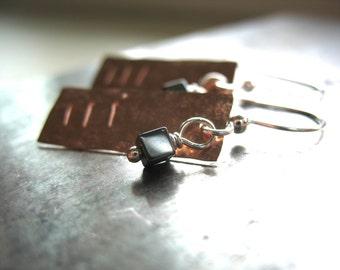 Copper Earrings, Hematite Earrings, Handmade Metalwork Hematite Stone Copper Dangle Drop Earrings, Metalwork Jewelry