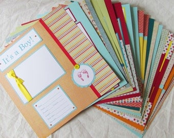 Scrapbook Pages for FiRsT YeAr 12x12 ALbUm -- 20 pages for BABY BOY -- alphabet soup ~ Celebrating Baby's First Year Milestones