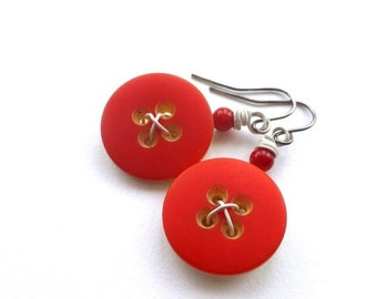 Christmas in July Sale Bright Scarlet Red and White Vintage Button Earrings