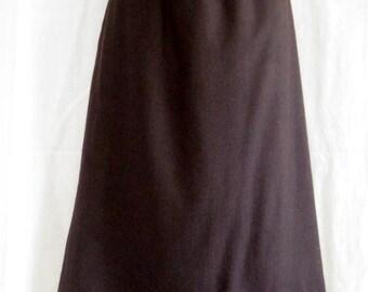 """Vintage Brown Wool Knee Length Skirt 28"""" waist"""